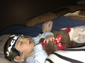 Jack cuddling with Mama because he wouldn't sleep in his crib. Another Love/Hate.