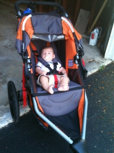 Little Jack just 3 months old in the big stroller.