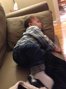 Jack won't sit next to me on the couch anymore. He insists on sitting on his side. #bigboy