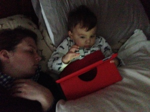 Role reversal: Jack is blogging while I nap.