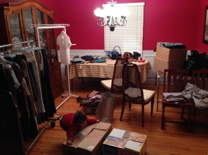 Dining Room turned to Clothes Swap
