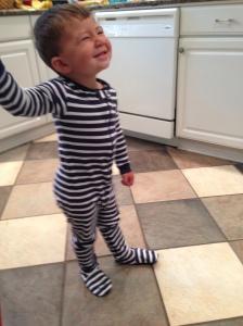 Posing in his favorite PJs